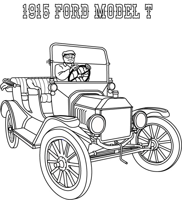 Model T Ford Coloring Page | Coloring Pages